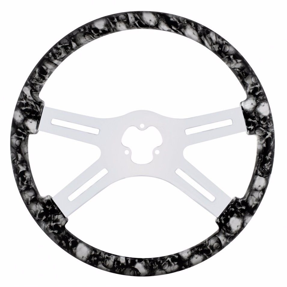 "18"" Skull Steering Wheel for Peterbilt, Kenworth, Freightliner, International, Black & White"