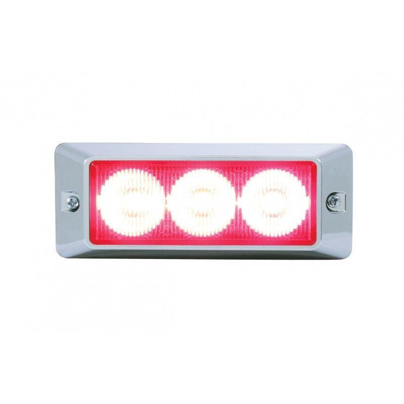 3 LED Warning Strobe Light, Red