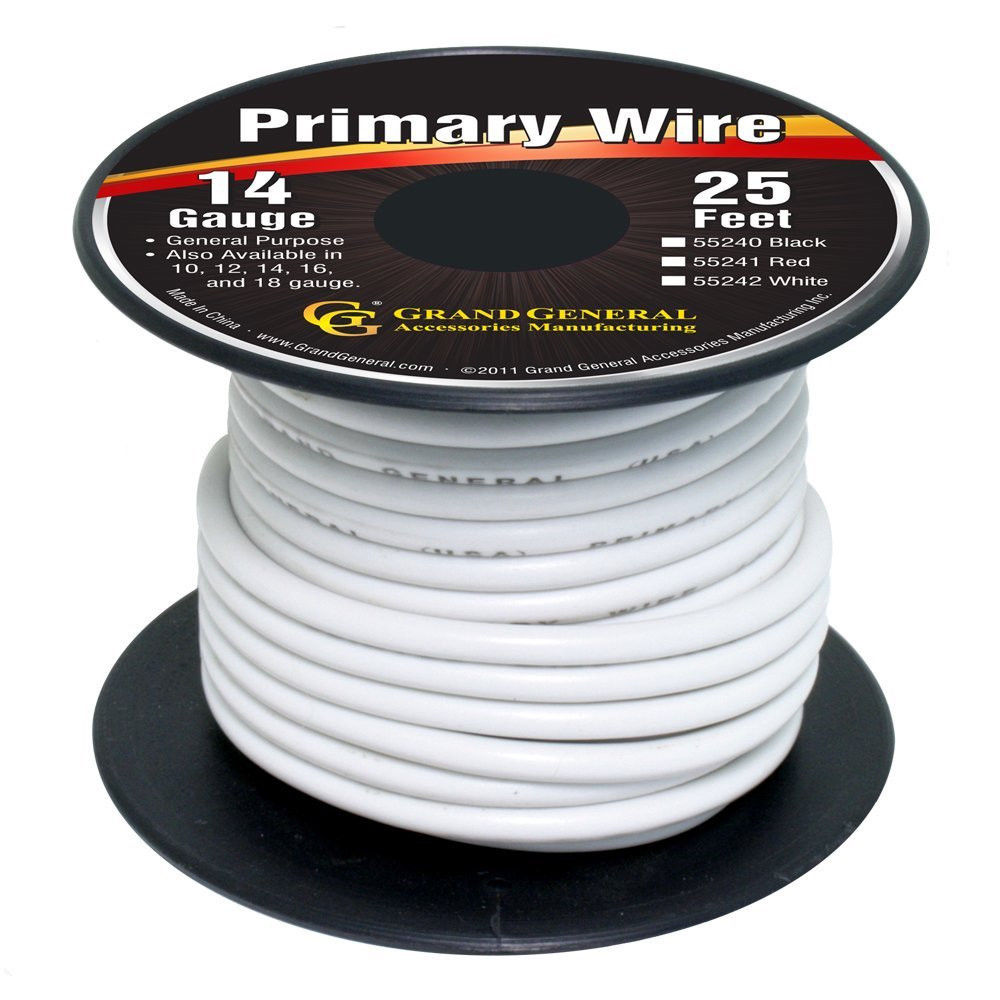 White 14-Gauge Primary Wire Roll of 25Ft