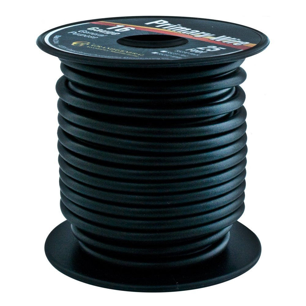 Black 16-Gauge Primary Wire Roll of 25Ft