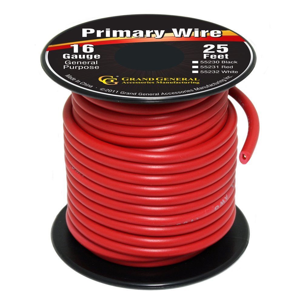 Red 16-Gauge Primary Wire Roll of 25Ft