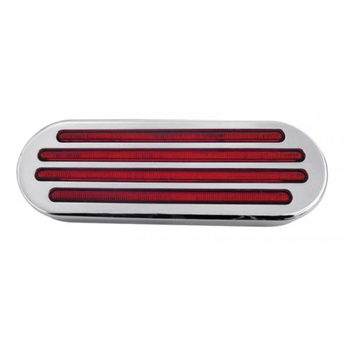 Pair of Oval Flatline Red LED 52 Diodes Peterbilt, Kenworth, Freightliner, Volvo