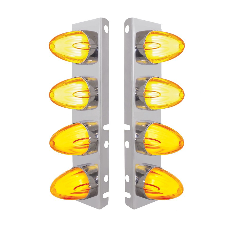 Peterbilt 8 LED Front Air Cleaner Brackets Watermelon Amber/Amber, Pair