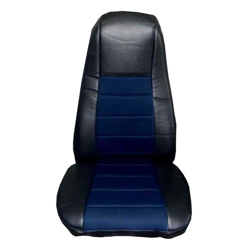 Black & Blue Faux Leather Seat Cover with Pocket