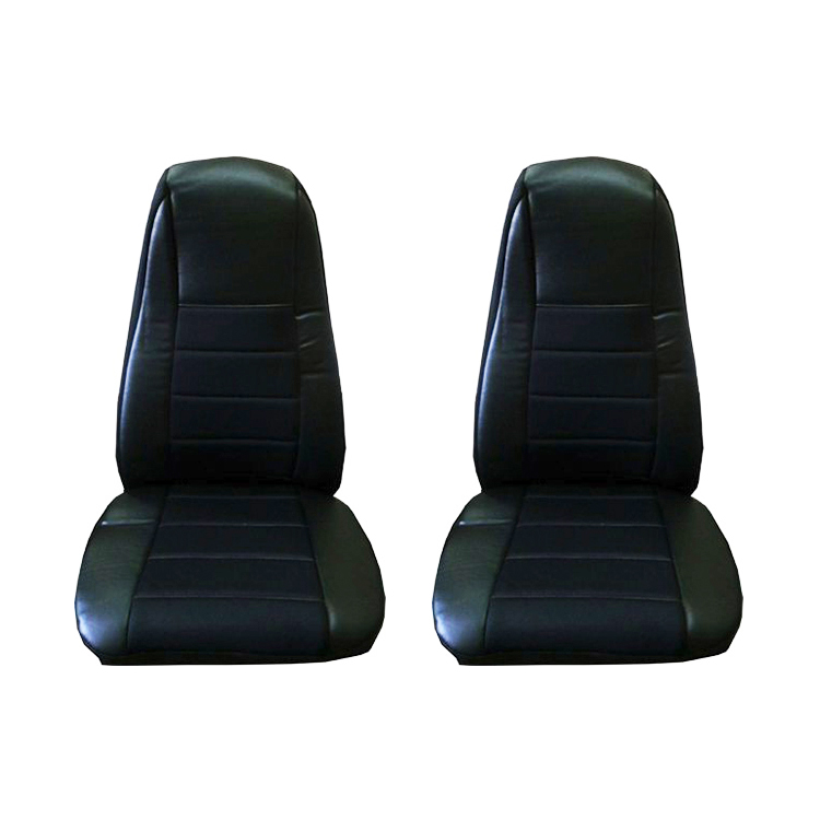 Black Faux Leather Seat Covers with Pocket, Pair