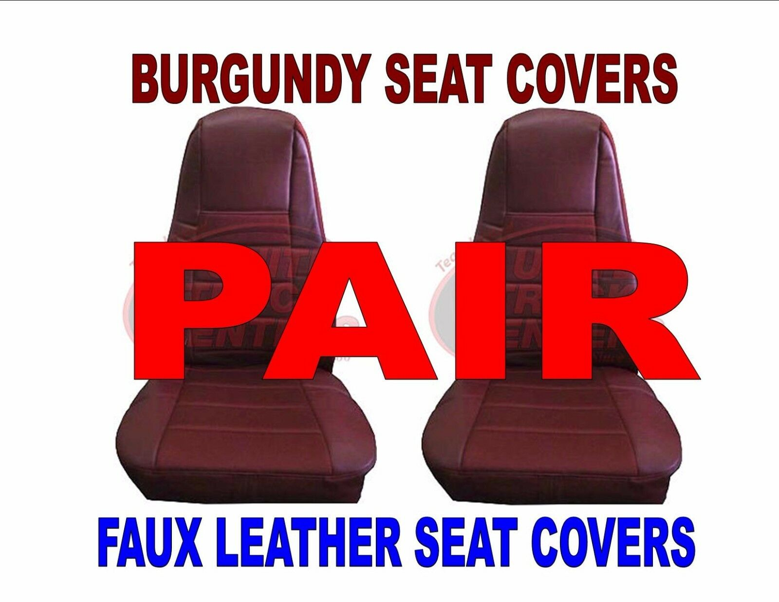 Burgundy Faux Leather Seat Covers with Pocket, Pair