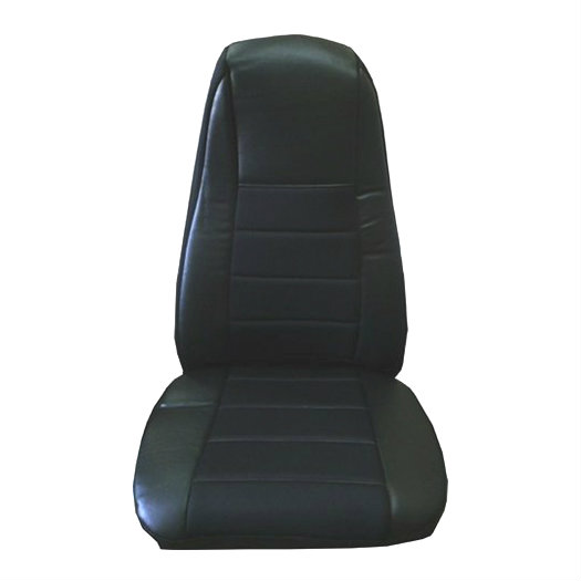 Black Faux Leather Seat Cover with Pocket