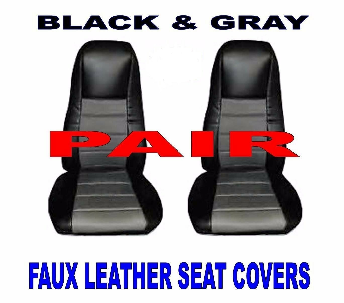 Black/Gray Leather Truck Seat Covers for Peterbilt, Freightliner, Pair