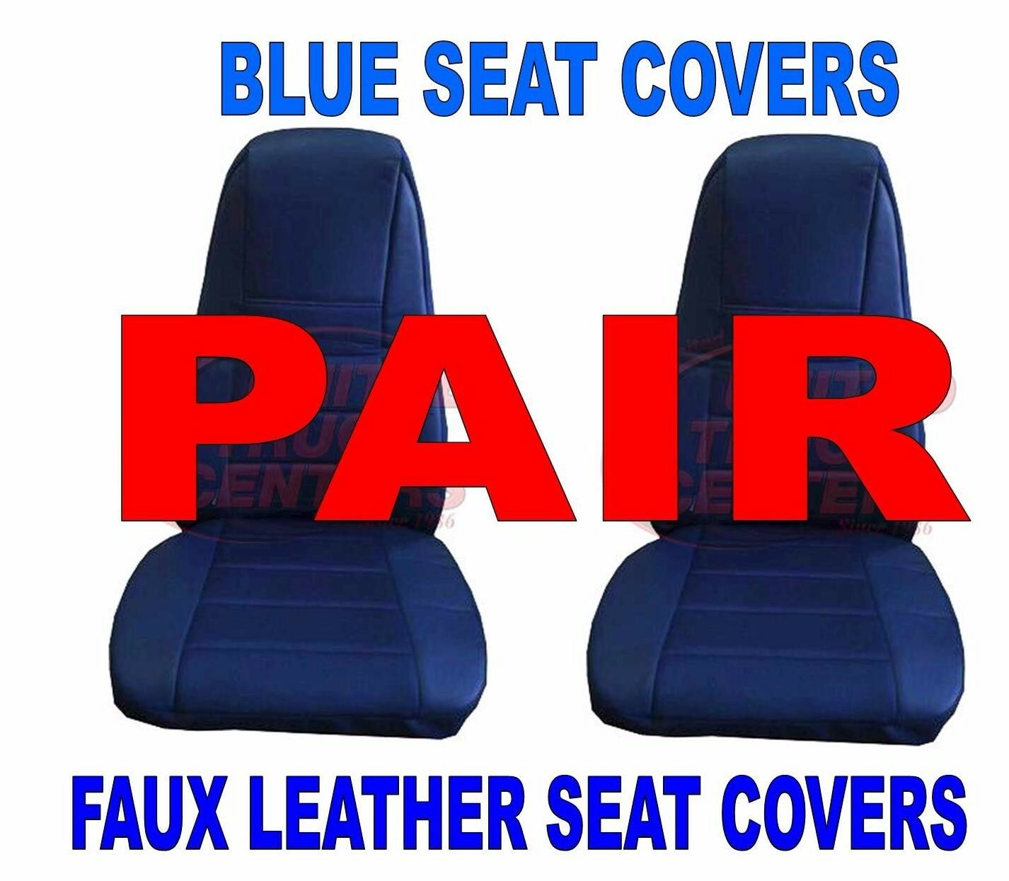 Blue Faux Leather Truck Seat Covers with Pocket, Pair