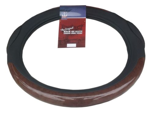 "18"" DARK WOOD Steering Wheel Cover w/ Spiky Massage Grip - Semi Trucks PB KW"