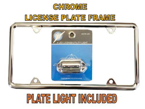 Chrome License Plate Frame & License Plate Light