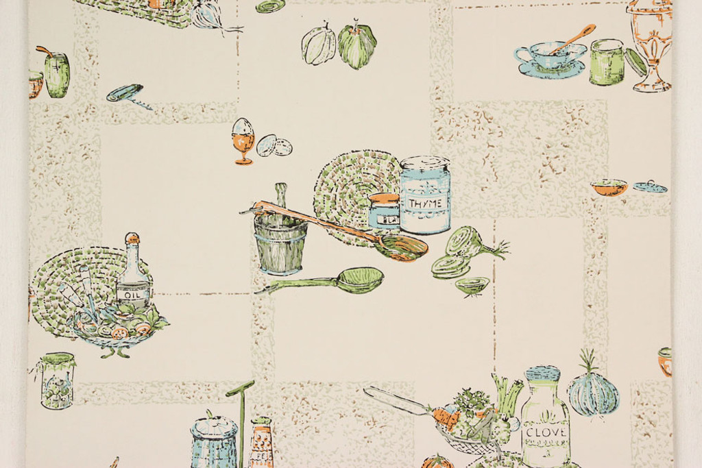 1970s Vintage Wallpaper Aqua and Orange Kitchen