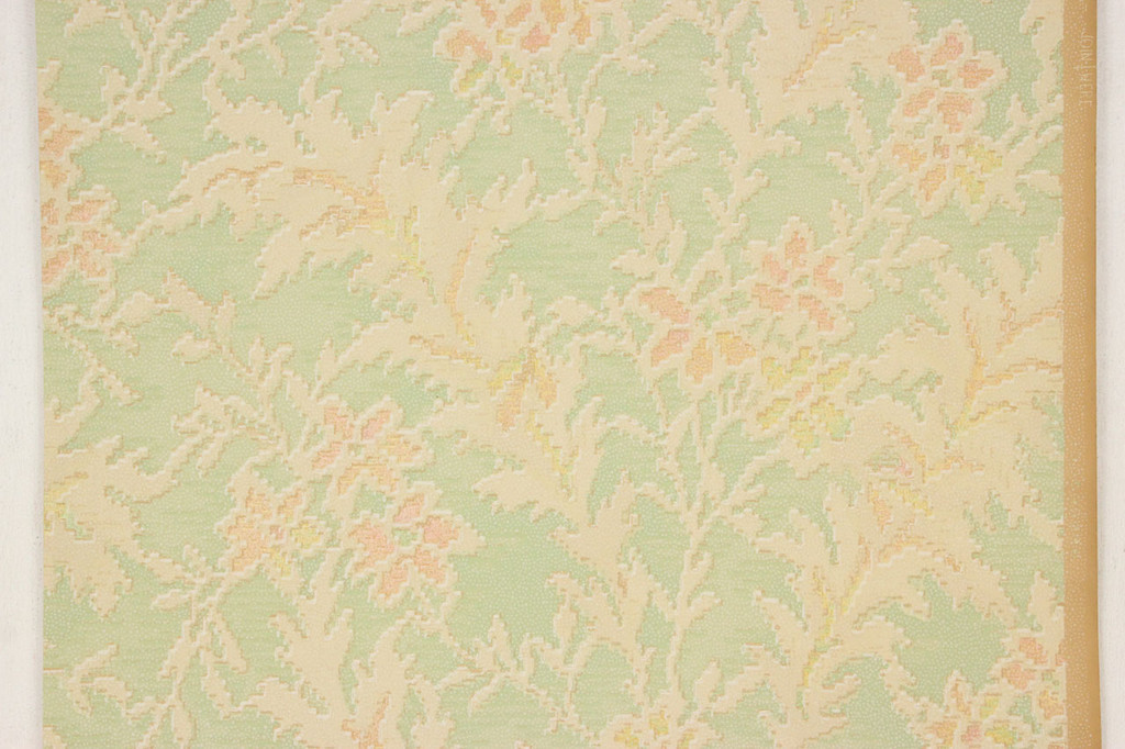 1920s Vintage Wallpaper Art Deco Floral on Green
