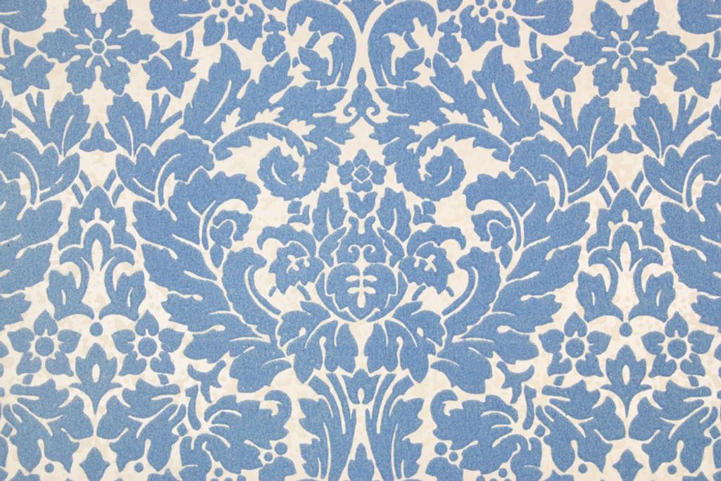 1970s Vintage Wallpaper Blue Flocked Damask