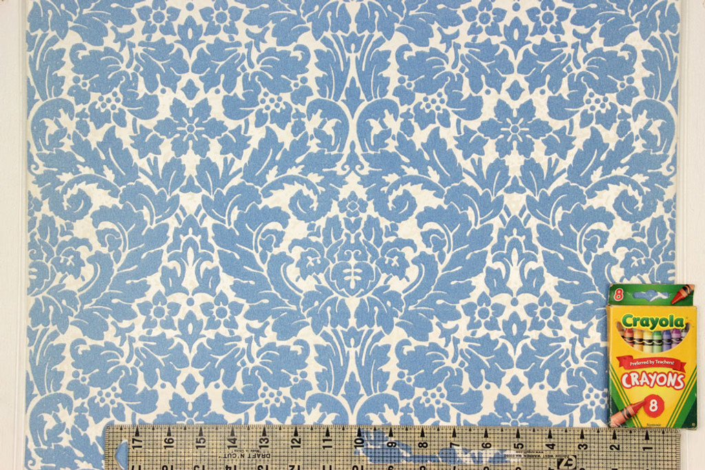 1970s Vintage Wallpaper Blue Flocked Damask