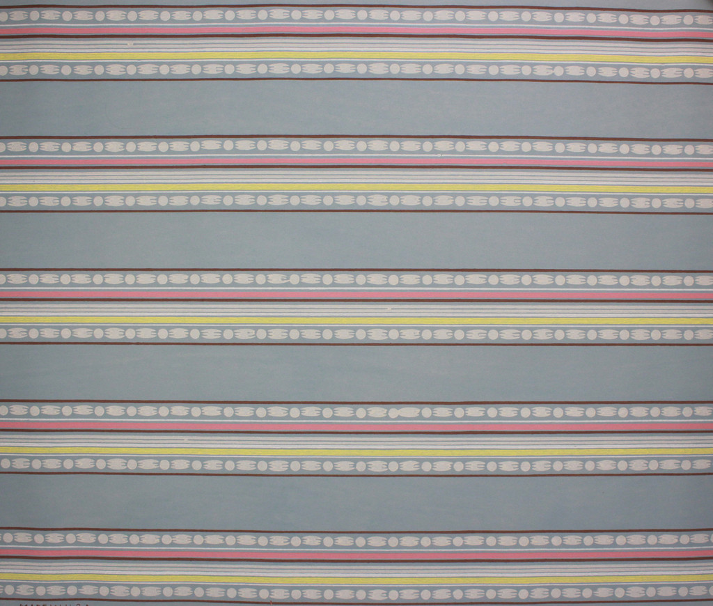 1940s Vintage Wallpaper Border Pink and Yellow on Blue