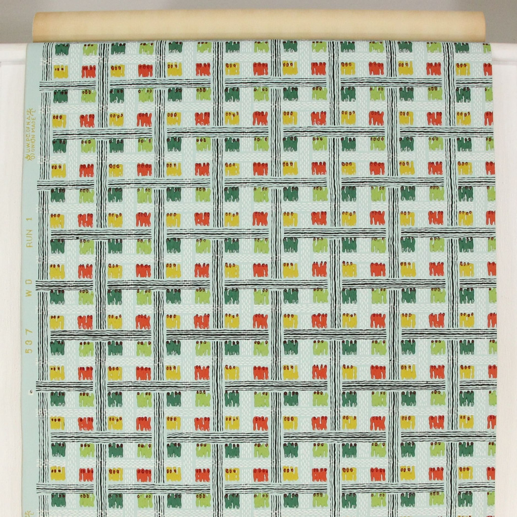 1940s Vintage Wallpaper Bright Geometric on Green