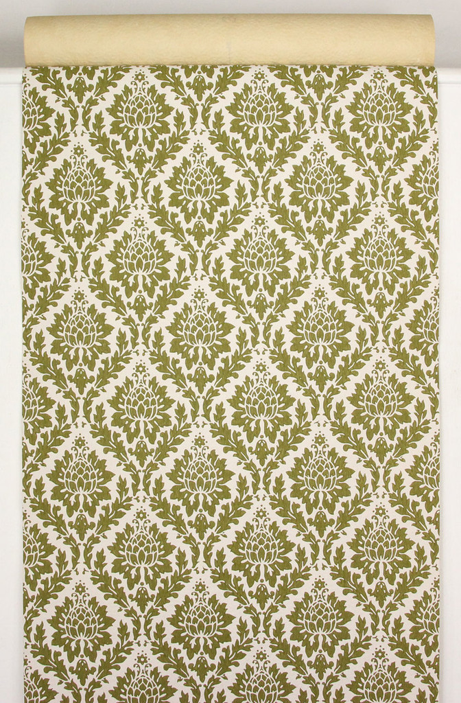 1960s Vintage Wallpaper Green Damask Design