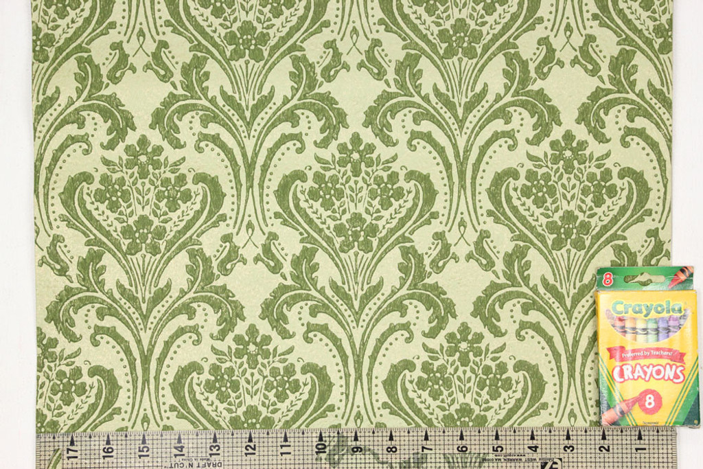1960s Vintage Wallpaper Damask Design Green on Gold-Green