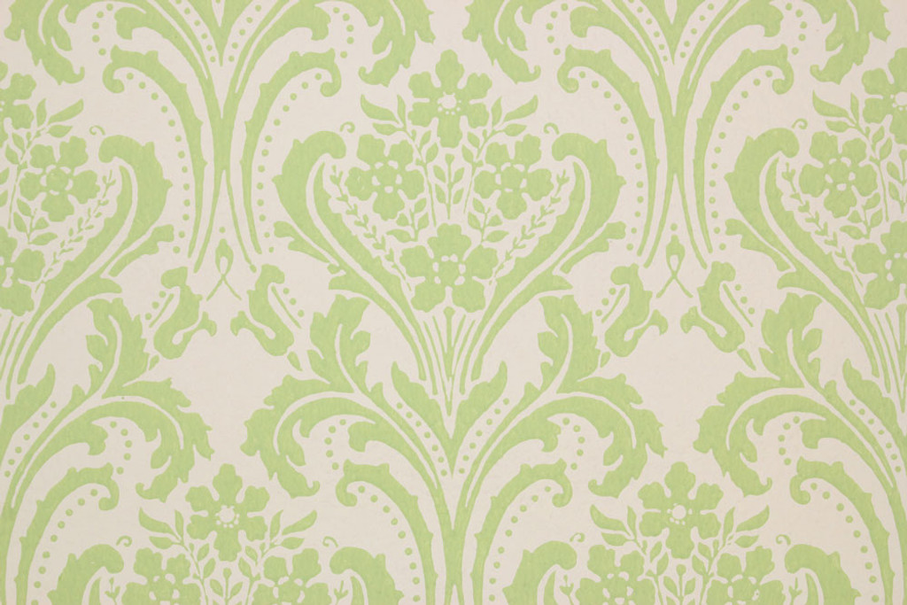 1960s Vintage Wallpaper Damask Design Lime Green