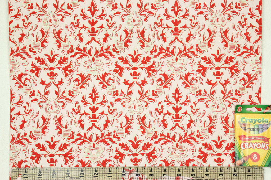 1960s Vintage Wallpaper Damask Design Red on Pink