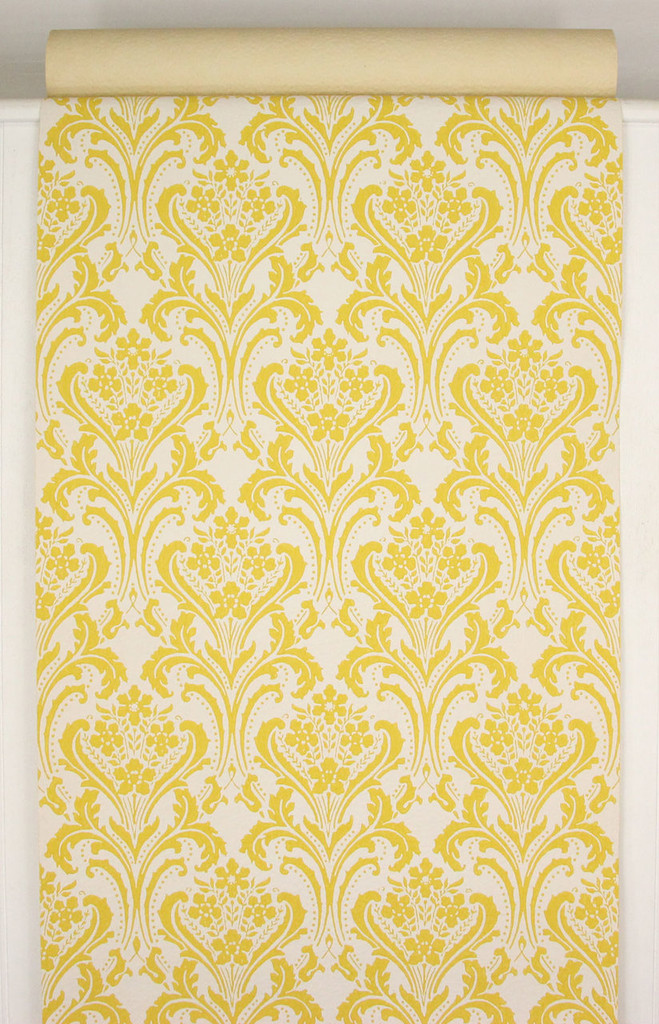 1960s Vintage Wallpaper Yellow Damask Design