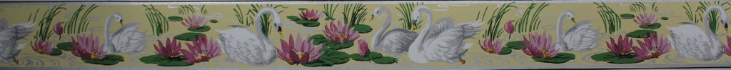 Duro Vintage Wallpaper Border White Swans on Yellow