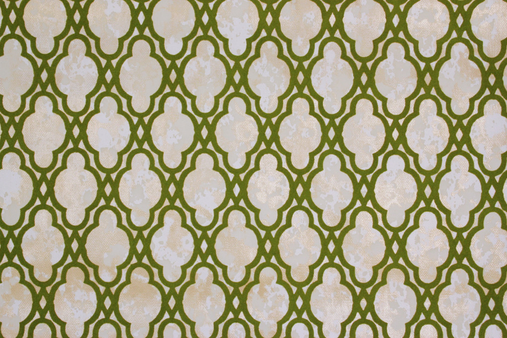1970s Vintage Wallpaper Flock Green Design