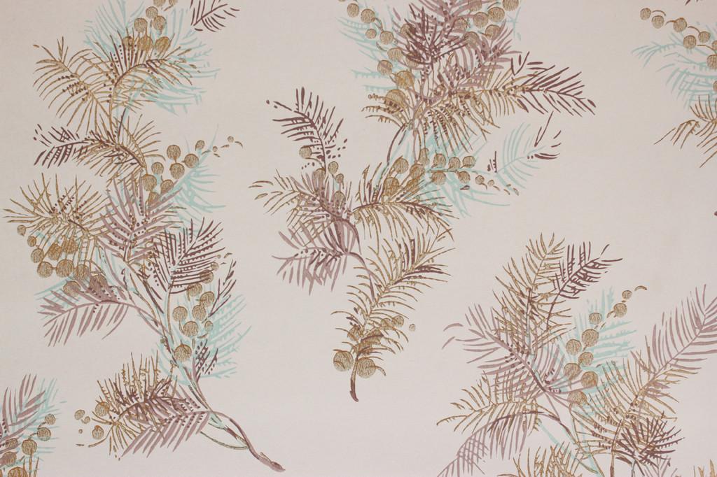 1950s Vintage Wallpaper Pine Needles Berries