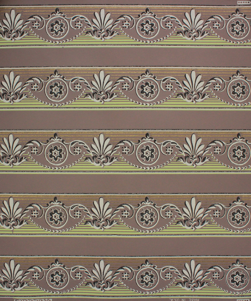 1950s Vintage Wallpaper Border Green and Brown