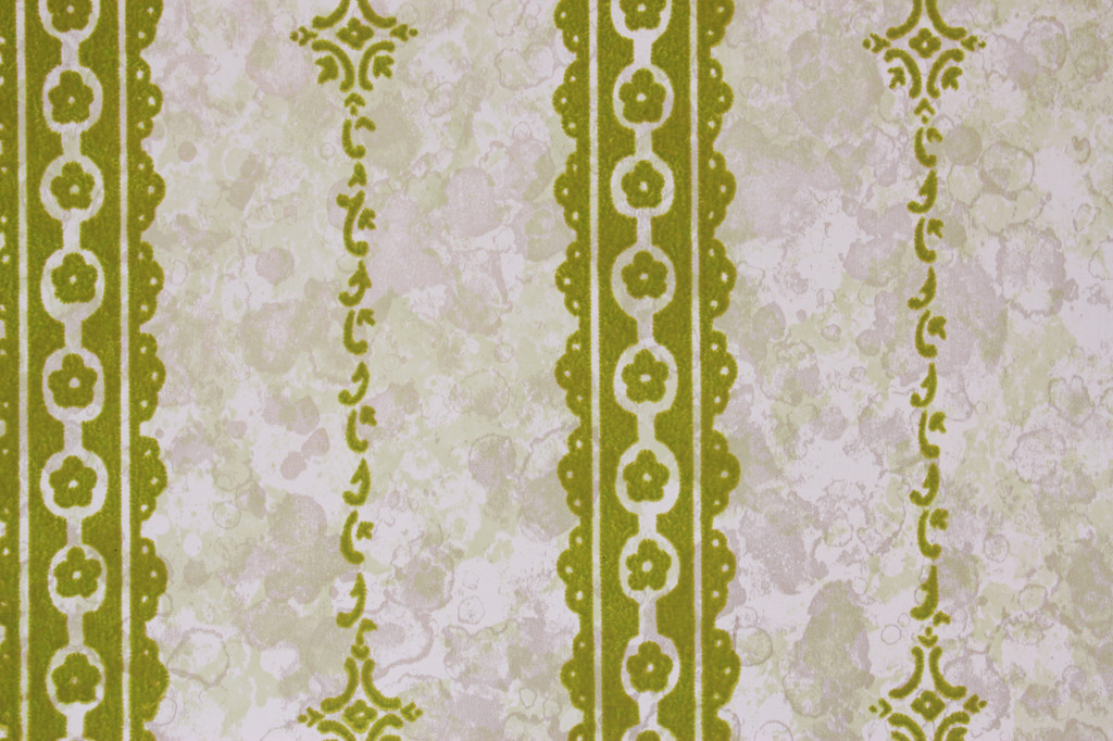 1970s Vintage Wallpaper Green Flock Stripe on Marble