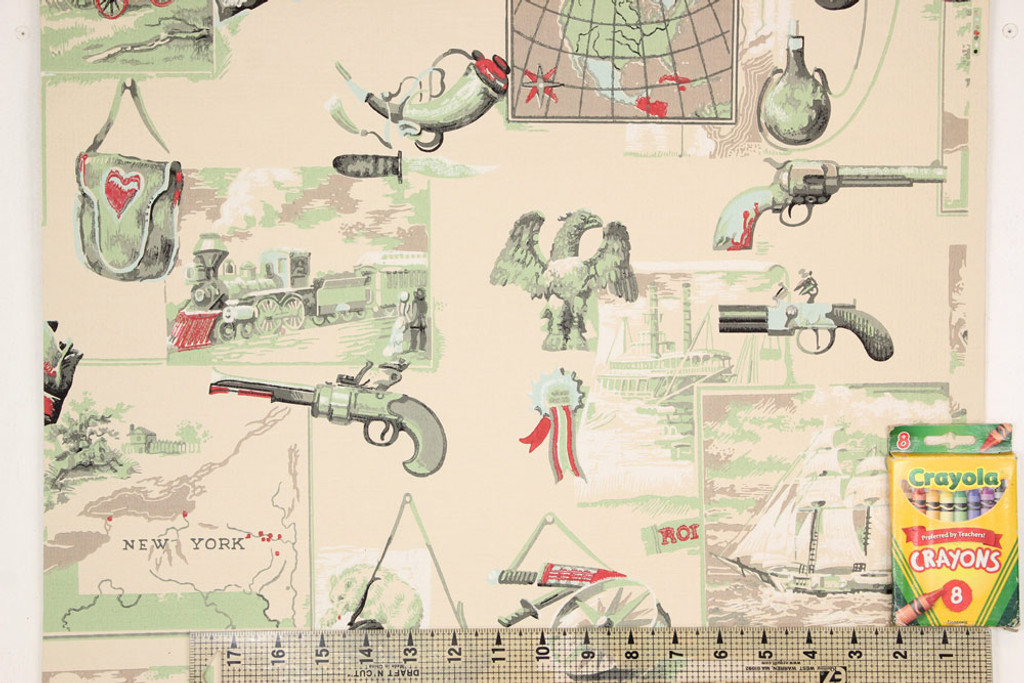 1950s Vintage Wallpaper Americana Guns Trains Ships