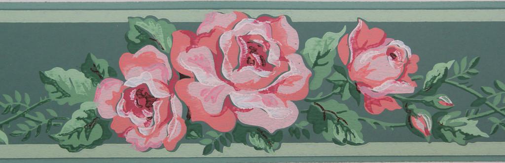Imperial Vintage Wallpaper Border Pink Roses