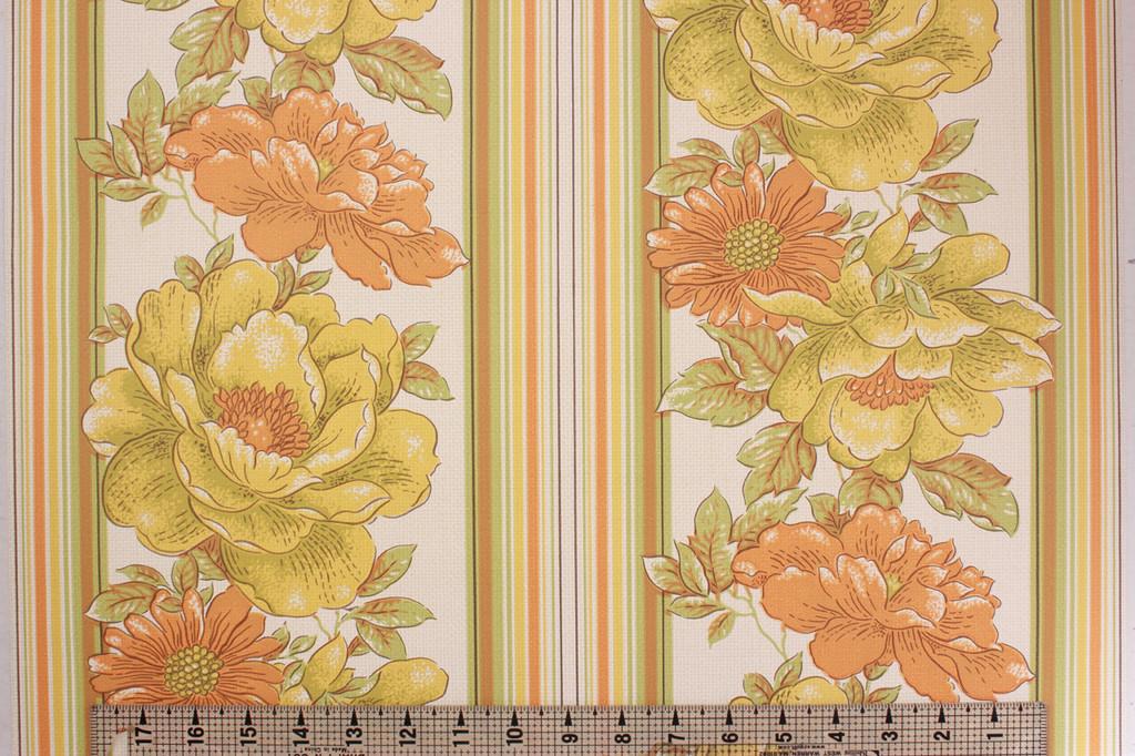 1970s Vintage Wallpaper Yellow and Orange Flower Stripe