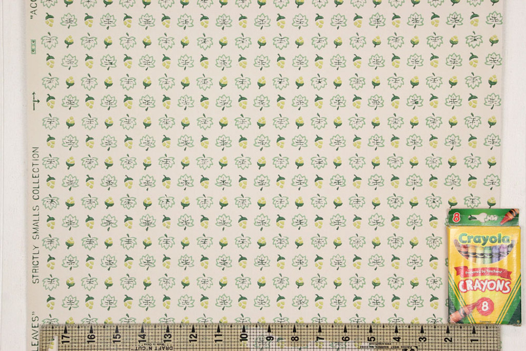 1940s Vintage Wallpaper Leaves and Acorns Green