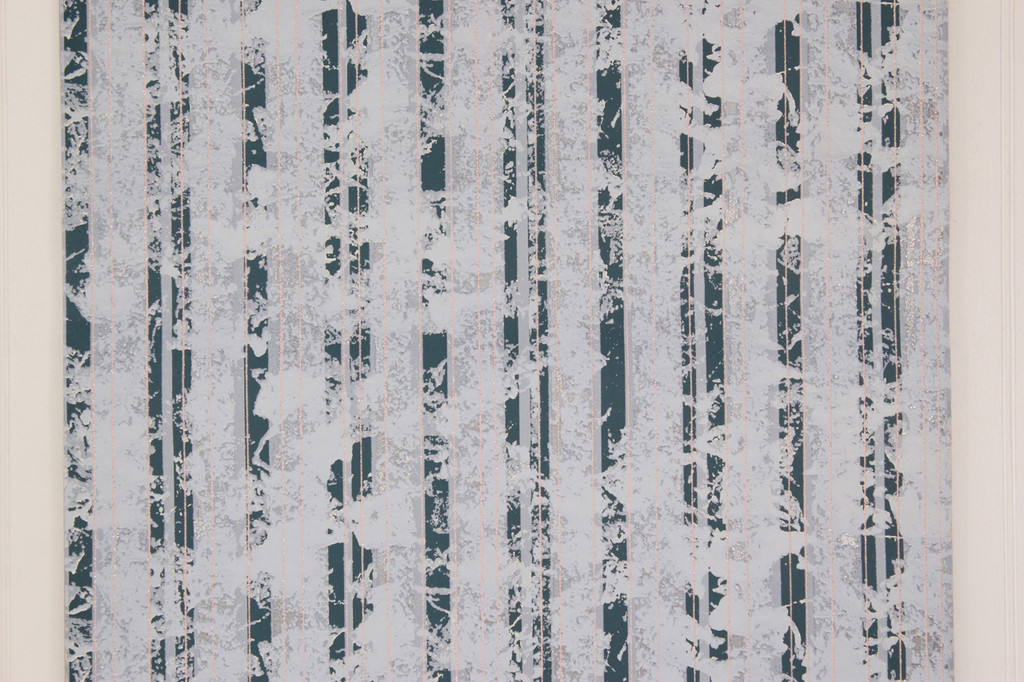 1980s Vintage Wallpaper Mod Metallic Stripe