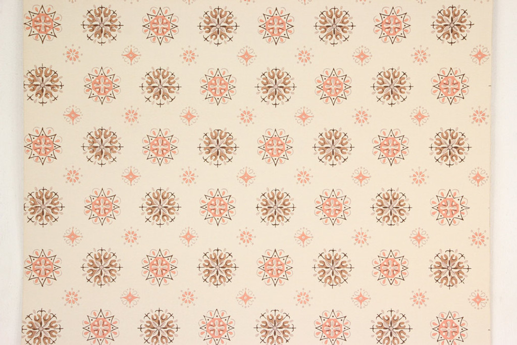 1950s Vintage Wallpaper Brown and Salmon Geometric