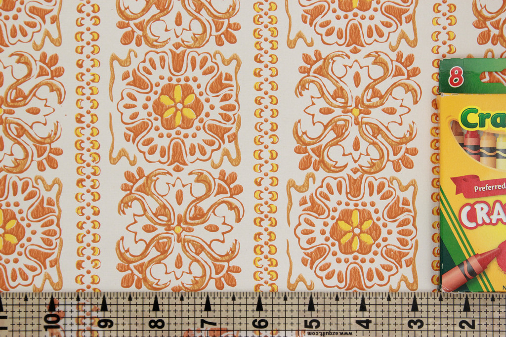 1970s Vintage Wallpaper Orange and Yellow Geometric Stripe