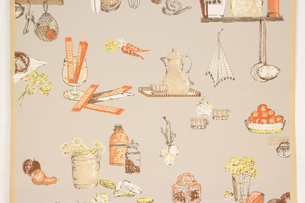 1930s Vintage Wallpaper Orange and Yellow Kitchen on Beige