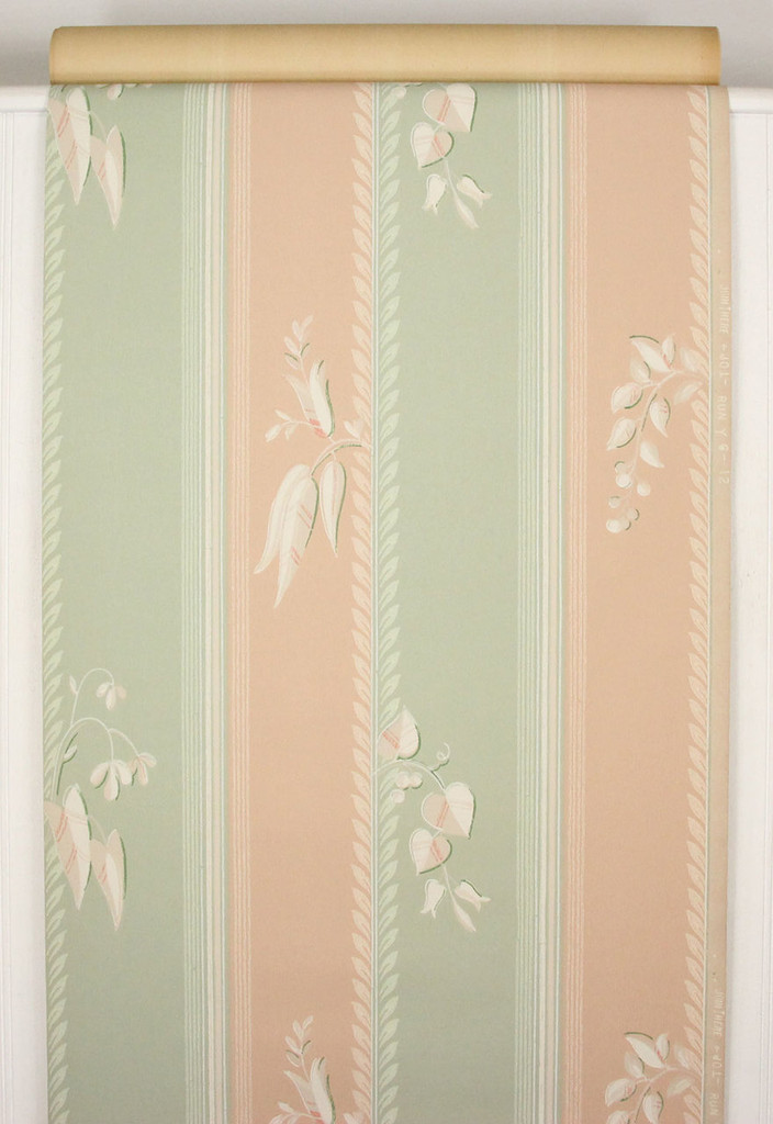 1940s Vintage Wallpaper Peach and Green Stripe