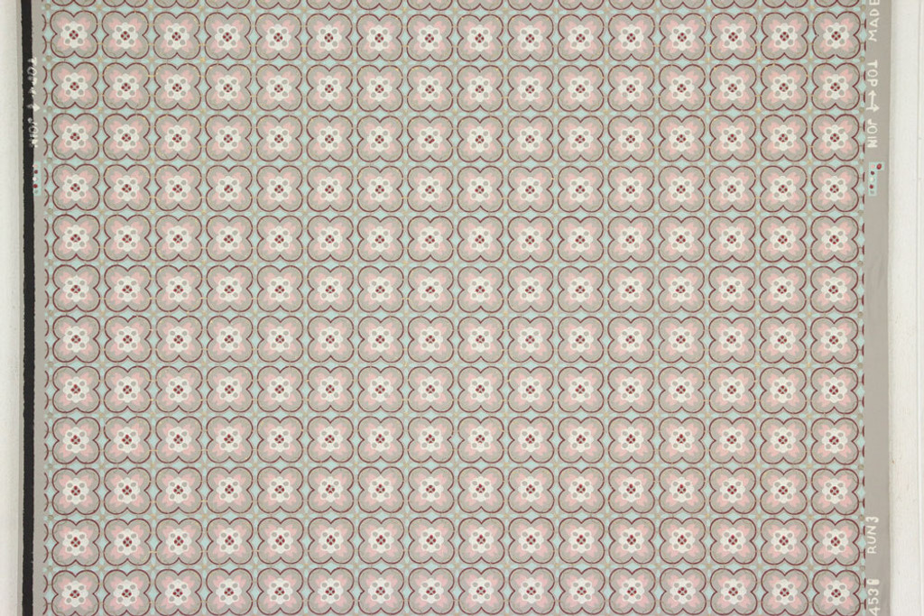 1940s Vintage Wallpaper Pink and Aqua Geometric