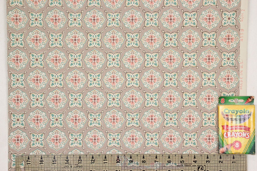 1940s Vintage Wallpaper Pink and Turquoise Geometric