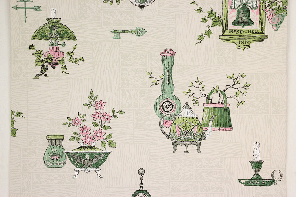 1950s Vintage Wallpaper Pink and Green Kitchen