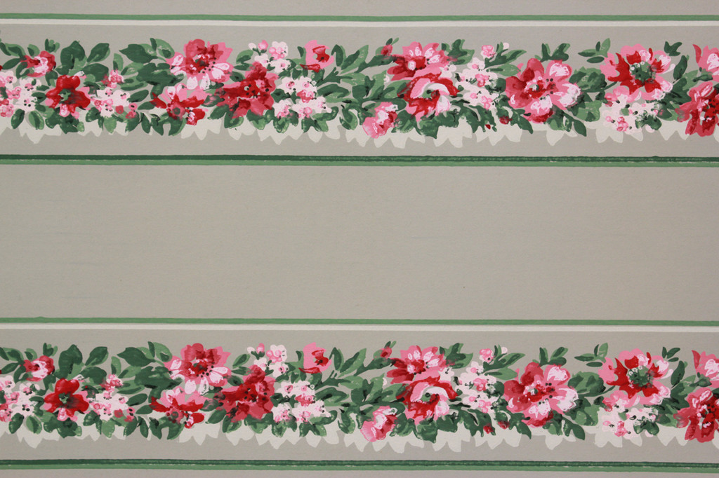 1940s Vintage Wallpaper Border Pink Flowers on Green