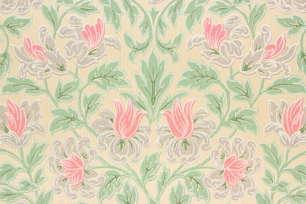 1930s Vintage Wallpaper Pink Flowers and Green Leaves on Beige