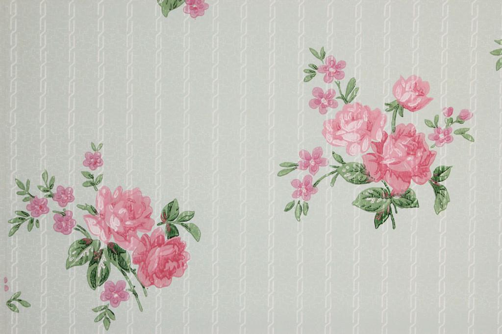 1940s Vintage Wallpaper Pink Roses On Blue Rosie S Vintage Wallpaper