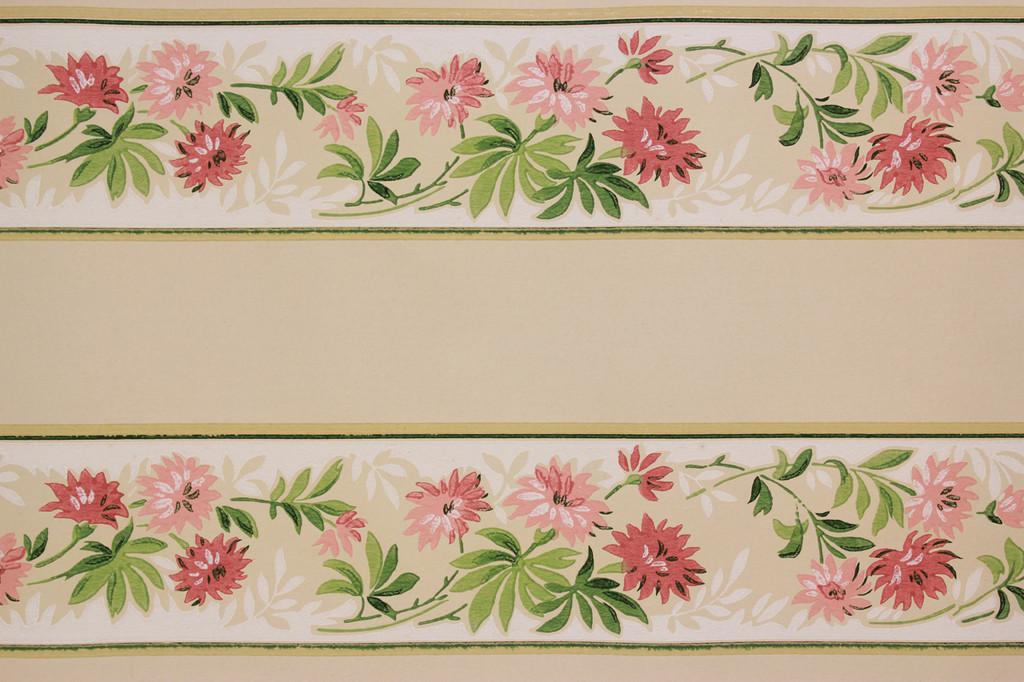 1940s Vintage Wallpaper Border Pink Flowers