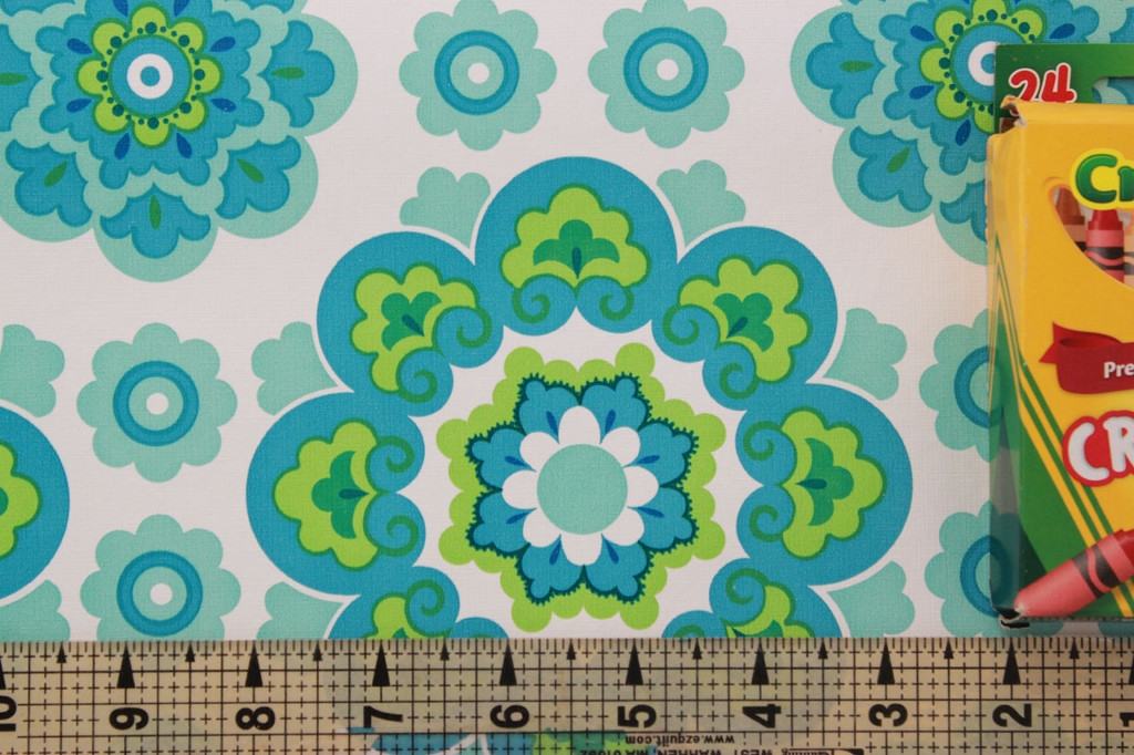 1970s Vintage Wallpaper Retro Blue and Green Geometric