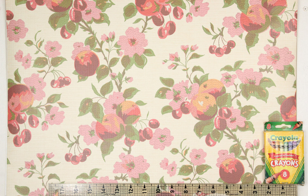 1970s Vintage Wallpaper Cherries and Pink Flowers