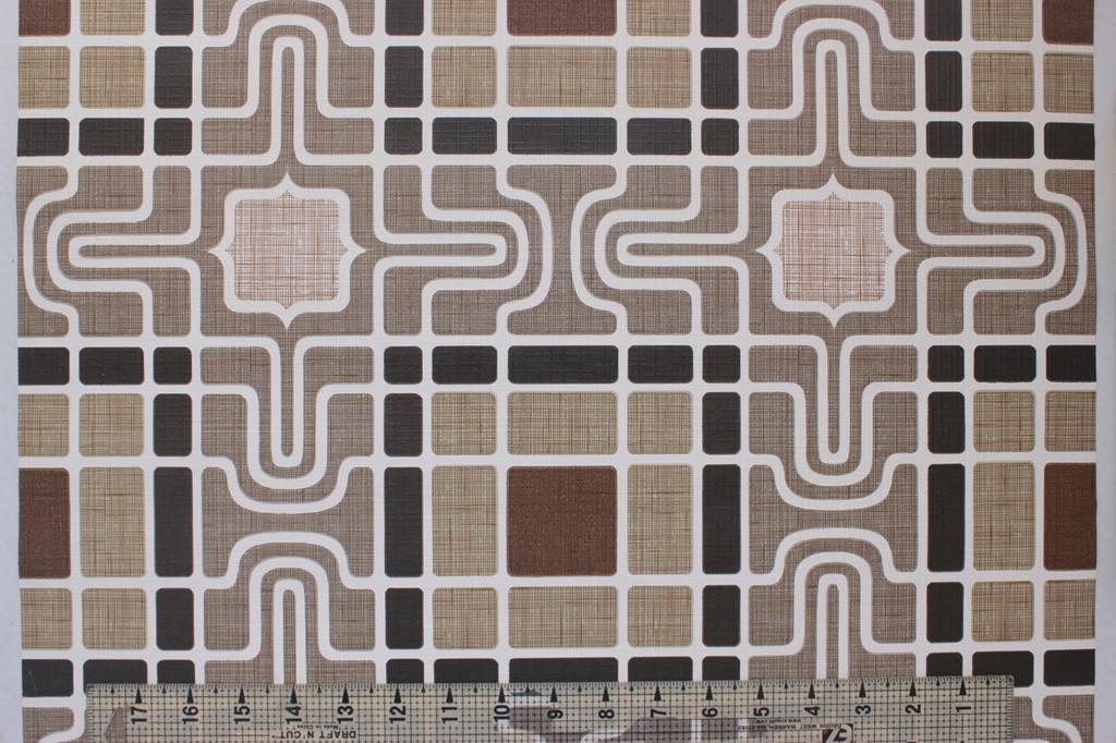 1970s Vintage Wallpaper Retro Geometric Brown Black
